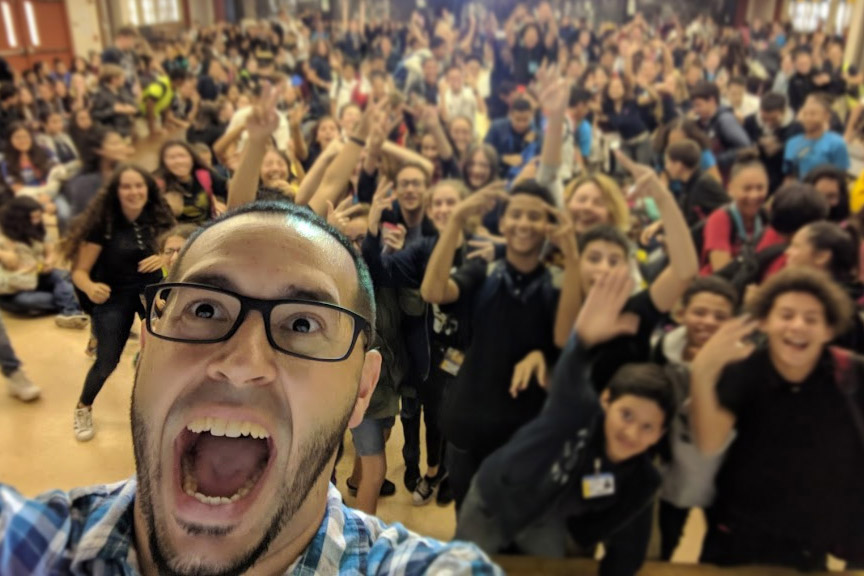 Group Selfie with Neptune Middle School Students